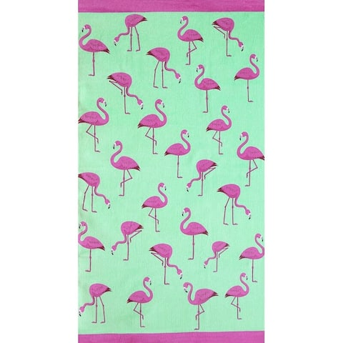 Multi Flamingos 30x60 Brazilian Velour Beach Towel