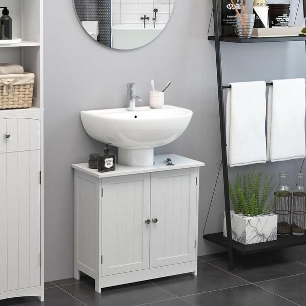 "HOMCOM 24"" Pedestal Sink Bathroom Vanity Cabinet - White. Opens flyout."