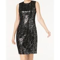 Calvin Klein Black Womens Size 2 Sequin Velvet Sheath Dress