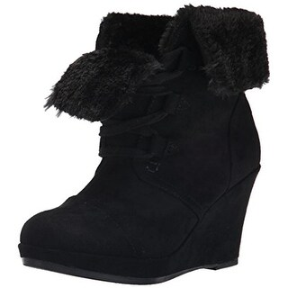 Report Womens Justise Microsuede Faux Fur Wedge Boots