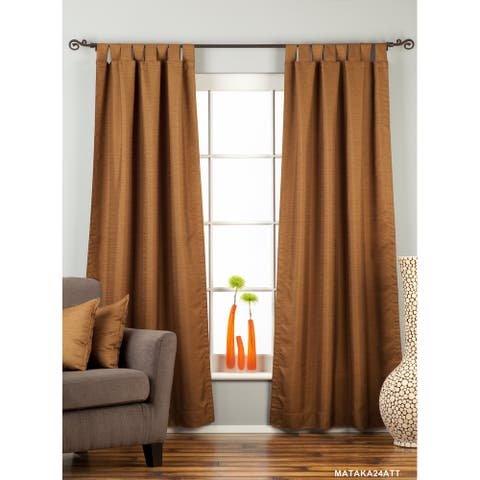 Brown Tab Top Matka Raw Silk Curtain / Drape / Panel - Piece