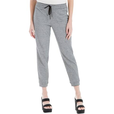 Max Studio London Womens Cropped Athletic Sweatpants, Grey, Small