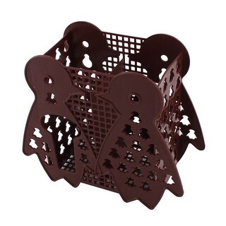 Plastic Hollow Out Spoon Fork Chopsticks Hanging Holder Cage Chocolate Color