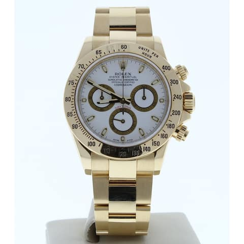 Preowned 116528 Rolex Cosmograph Daytona White Dial 18k Yellow Gold - White Dial