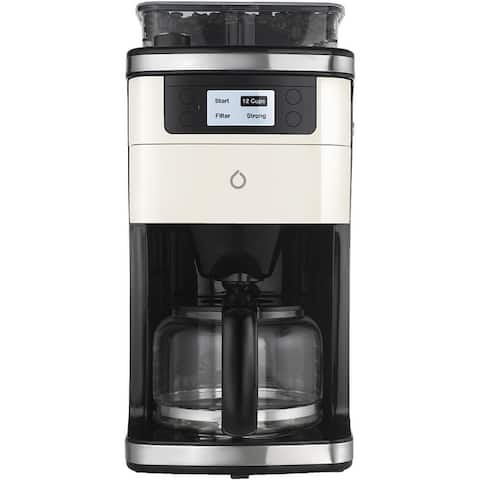 Smart iCoffee Brew Coffee Maker with Built-in Grinder, Smarter App, and 3 Interchangeable Color Panels (Cream, Black, Red)