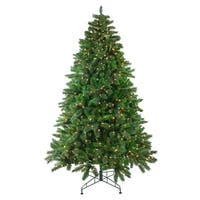 7.5' Pre-Lit Mixed Scotch Pine Artificial Christmas Tree - Clear Lights - green