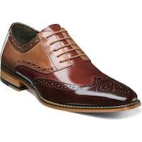 Stacy Adams Men's Tinsley Wingtip Derby 25092 Brown/Cognac/Tan Buffalo Leather