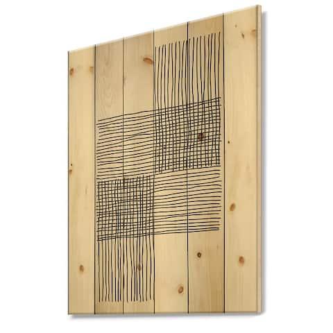 Designart 'Minimal Geometric Compostions Of Elementary Forms XIX' Modern Print on Natural Pine Wood