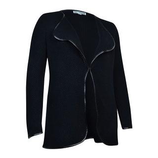 JM Collection Women's Pleather-Trim Textured Knit Cardigan - Deep Black