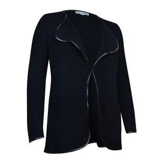 JM Collection Women's Pleather-Trim Textured Knit Cardigan - Deep Black - l