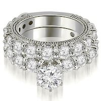 4.15 cttw. 14K White Gold Antique Round Cut Diamond Engagement Set