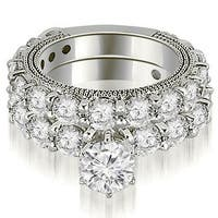 4.40 cttw. 14K White Gold Antique Round Cut Diamond Engagement Set