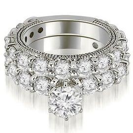 4.65 cttw. 14K White Gold Antique Round Cut Diamond Engagement Set