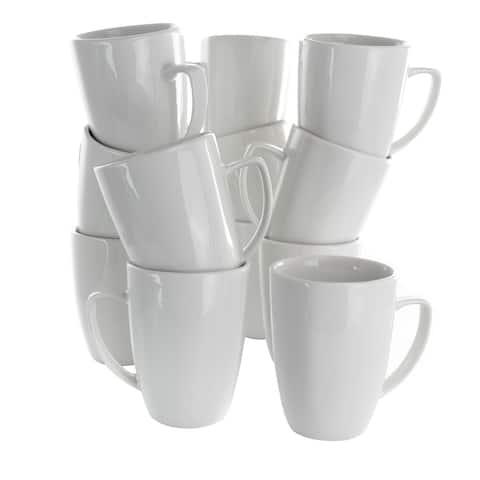 Elama Riley 12 Piece 12 Ounce Porcelain Mug Set in White