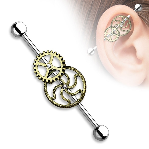 "Burnish Gold Steampunk Center Surgical Steel Industrial Barbell - 14GA - 1& 1/2"" Length (Sold Ind.)"