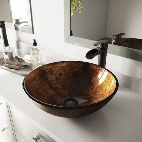 VIGO Round Glass Vessel Bathroom Sink