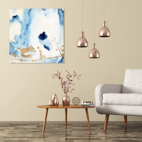 Wynwood Studio 'Birdie Sings Blues' Abstract Wall Art Canvas Print Watercolor - Blue, Gold