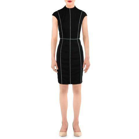 Alexia Admor Womens Sheath Dress Piped Cap Sleeve - Black