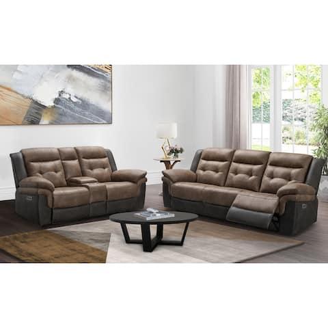 Abbyson Tacoma Two-Tone Fabric Power Reclining Sofa and Loveseat Set