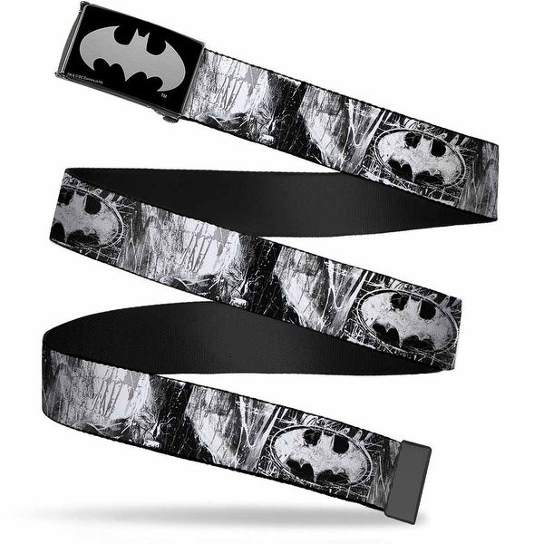 Batman Reverse Brushed Silver Cam Batman Face Bat Shield Sketch White Web Belt