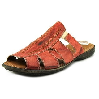 Bacco Bucci Neto Men Open Toe Leather Red Slides Sandal