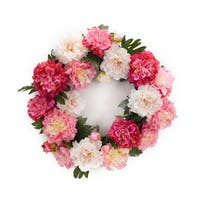 "21"" Decorative Artificial Mixed Pinks Springtime Peony Flower Wreath - Pink"