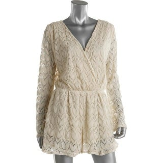 Surf Gypsy Womens Crochet Long Sleeves Romper Swim Cover-Up