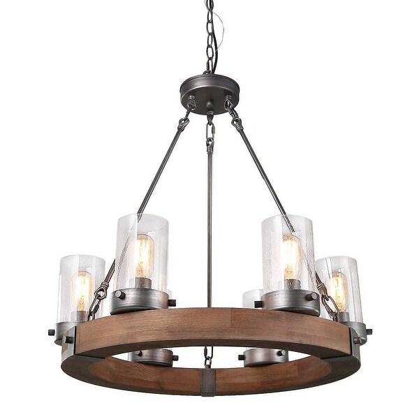 Shop 6 light vintage rustic pendant light fixture, industrial glass ...