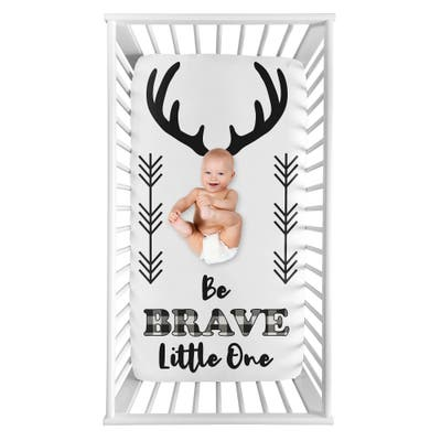 Woodland Buffalo Plaid Collection Boy Photo Op Fitted Crib Sheet - Black and White Rustic Country Deer Lumberjack Arrow