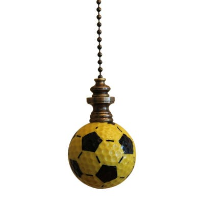 """Yellow/Black Soccer Ball Ceiling Fan Pull, 2.25""""h with 12"""" Antiqued Brass Chain"""