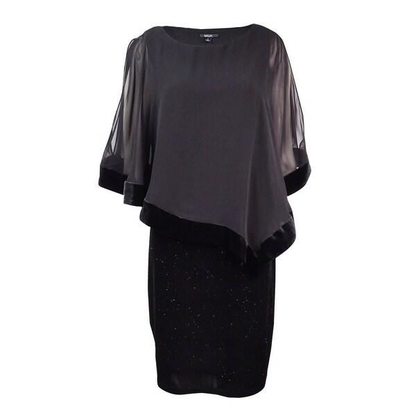 MSK Women's Velvet Chiffon-Overlay Dress - Black