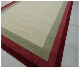 9.6x13.6 Feet Sage Green Red Burgundy Huge Over sized Bordered Wool Carpet Rug Modern Contemporary