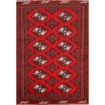 """Elephant Foot Style Bokhara Oriental Area Rug Wool Hand-knotted Carpet - 3'4"""" x 4'6"""""""