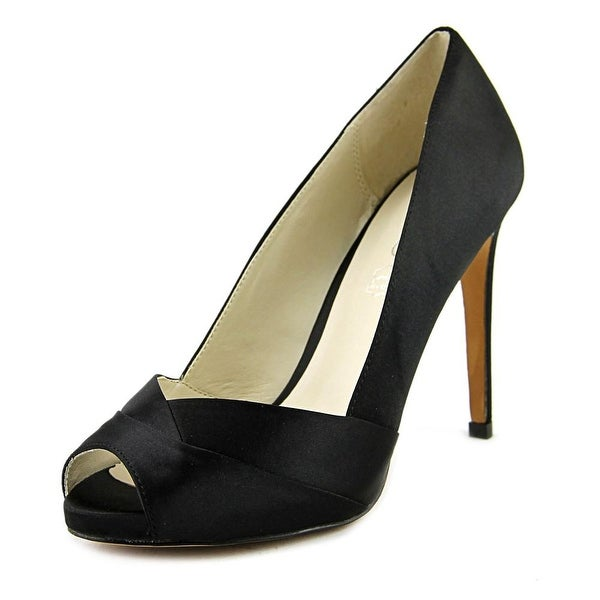 Aldo Scibilia Women Peep-Toe Canvas Black Heels
