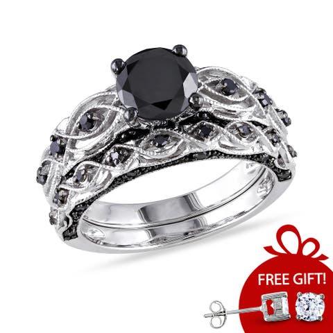 Miadora 10k White Gold Black Diamond Infinity Engagement Ring Set