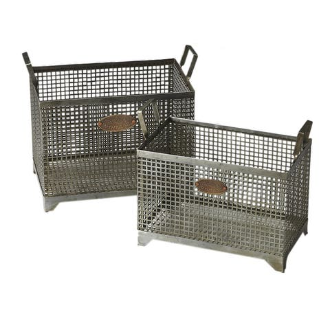 Offex Transitional Rectangular Iron Storage Basket Set - Gray