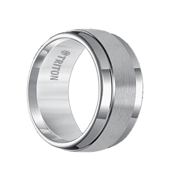 JACOB Raised Satin Finished Center White Tungsten Carbide Ring with Polish Finished Step Edges by Triton Rings - 9mm