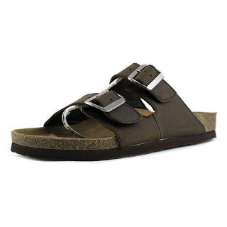 Crevo C4564M Double Buckle Men Open Toe Leather Brown Slides Sandal