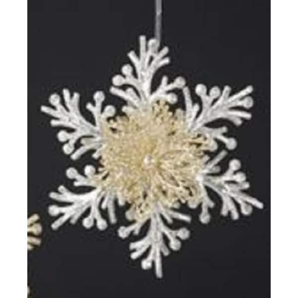 "6"" Silver and Gold Glittered Branch Snowflake Christmas Ornament"