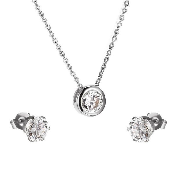 Stainless Steel Solitaire Cubic Zircon Earrings Pendant Necklace Set Womens Gift