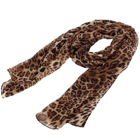 Unique Bargains Women Neck Chiffon Leopard Cheetah Print Wrap Stole Shawl Scarf - 59 7/8 x 14 1/8 inches (L*W)
