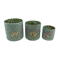 3 Piece Colorful Round Mosaic Glass Votive Candle Holder Set - Multicolored