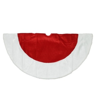 """48"""" Traditional Red Velveteen Christmas Tree Skirt with White Faux Fur Trim"""
