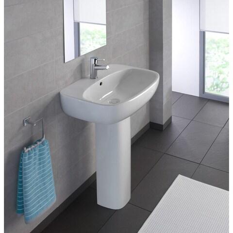 "Bissonnet Moda 60 Pedestal Moda 23-5/8"" Vitreous China Pedestal Bathroom Sink wi - White"