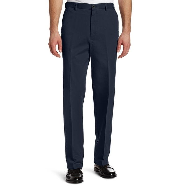 Haggar Mens Pants Navy Blue Size 42x29 Classic Fit Flat Front Khakis. Opens flyout.