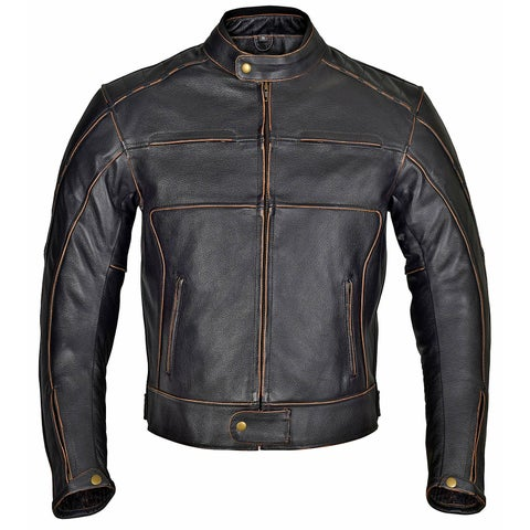 Men Motorcycle Armor Leather Jacket Vintage Style