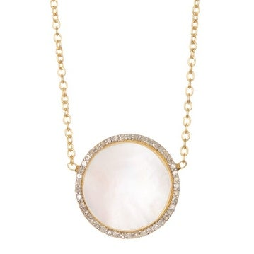 Gold Vermeil Classic Mother of Pearl Diamond Necklace