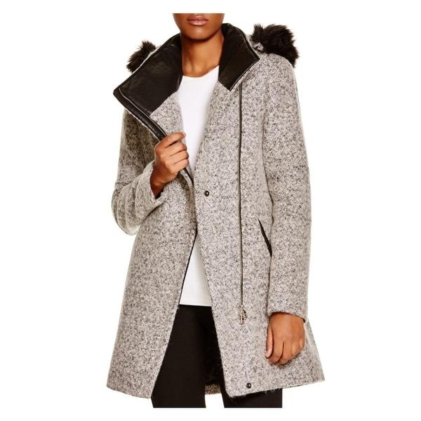 Calvin Klein Womens Basic Coat Wool Blend Asymmetric