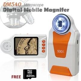 "Indigi® Wireless Digital Mobile Handheld Magnifier Microscope 500x ZOOM w/ 2.7"" Color LCD Display - 4x LED Light w/ 32gb microSD"