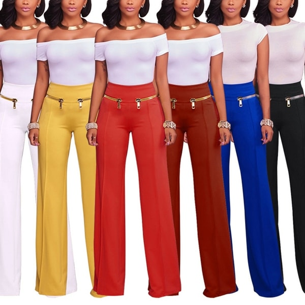 22f5e8ecc3850 Women Casual Loose Trousers Solid Color Zipper Pants Soft Yoga Outfit Gift